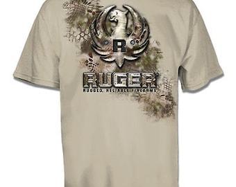 8696b05bf447d Ruger Kryptek Metal Eagle Logo Firearms Sand T-Shirt