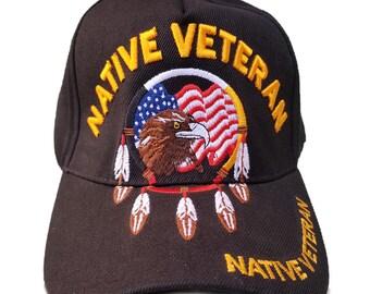 c0bc45a153f US Military Hat Native American Veteran w  Eagle Flag Black Adjustable Cap