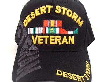 d8205dc33d8944 Desert Storm Veteran Hat Black Adjustable Cap