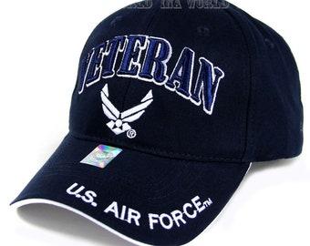 b4bf422c45f US Air Force Veteran Hat Navy Blue w  Wings Logo