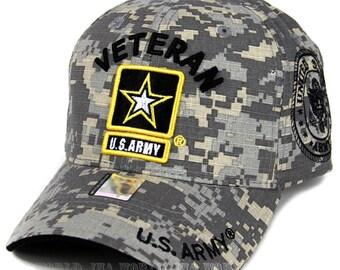 712f48b34be US Army Veteran Hat ACU Digital Camo Yellow Border w  Army Star Logo Seal  Side