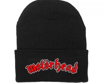 5eee5741b26 Motorhead Logo Fold Cuff Beanie Knit Hat Cap