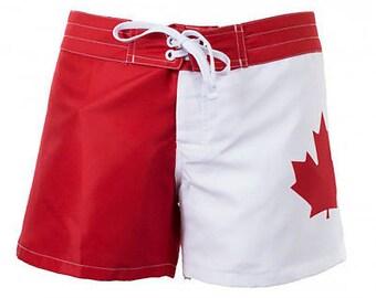 e1e470504b CANADA Canadian Flag Womens Ladies Board Shorts Beach Surf S-2XL