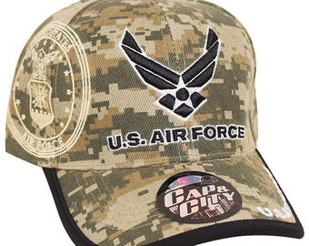 385f8c8dd55 US Air Force Hat Digital Camouflage Wings Logo Embroidered US Military Cap