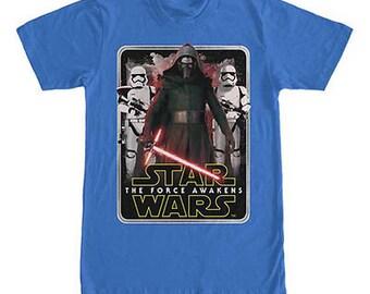 Official Star Wars TShirts Force Awakens Kylo Ren Vader Yoda Boba Fett Logo BB8