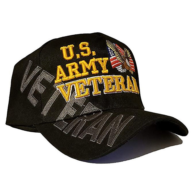 US Army Veteran Hat Black w/ Flag Eagle Logo Adjustable Cap