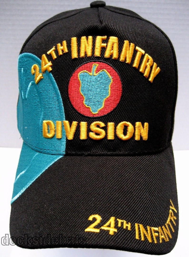f841d33a907 US Army Hat 24th Infantry Division Black Adjustable Cap