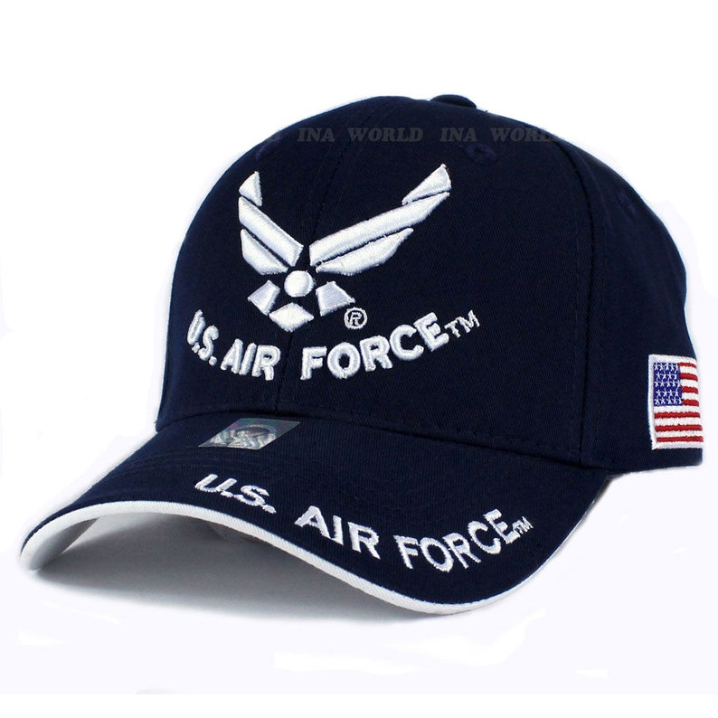 bc9a07a9447 US Air Force Hat Wings Logo Navy Blue w  Flag Patch Side