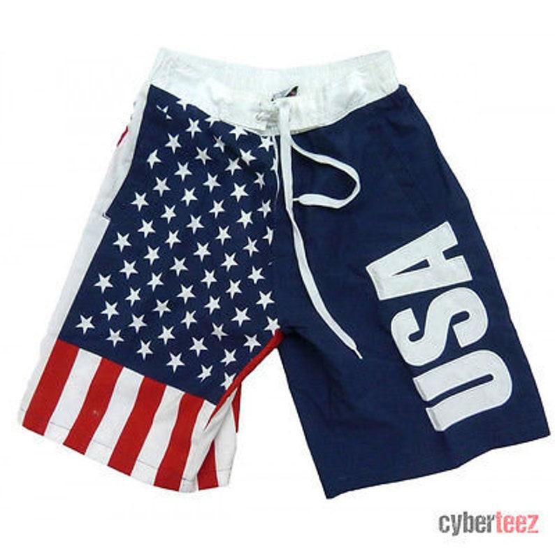 97db1879510a0 USA American Flag Mens Board Shorts Swim Trunks Patriotic | Etsy