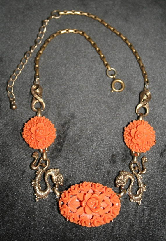 Vintage Carved Coral Celluloid Roses and Dragons B