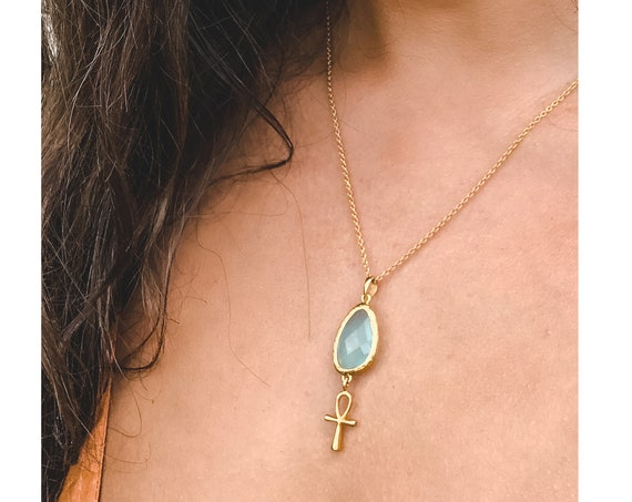 Gold Blue Jade Ankh Necklace
