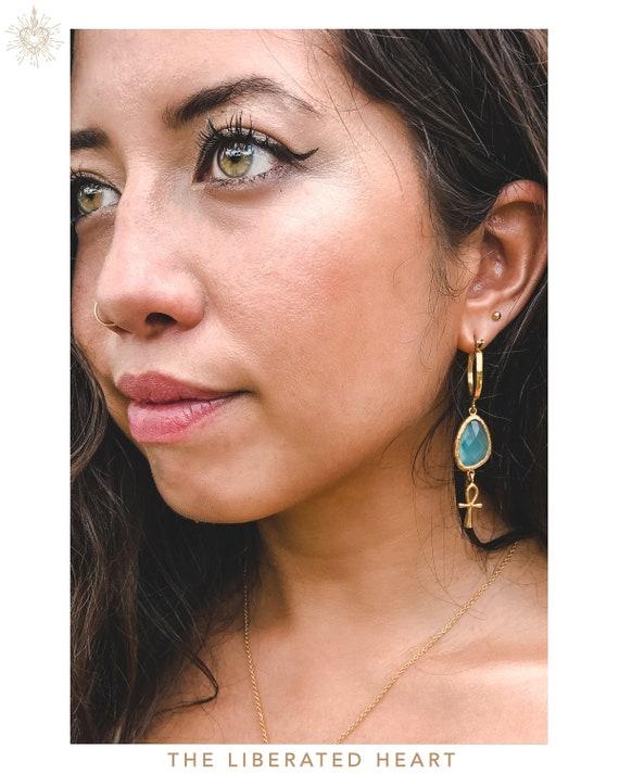 Gold Blue Jade Ankh Earrings