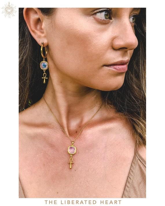 Gold Rose Quartz Ankh Necklace