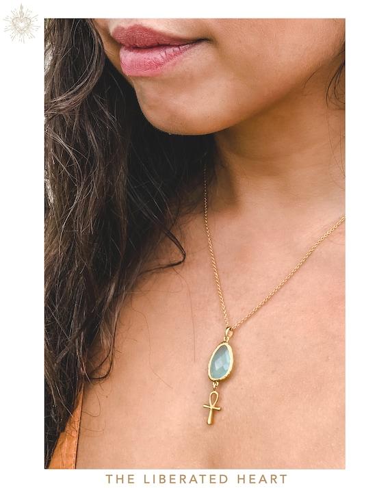 Gold Blue Jade Ankh Necklace