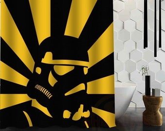 Star Wars Stormtrooper Yellow Black Fun Interesting Cool Bathroom Privacy Unique Design Shower Curtain