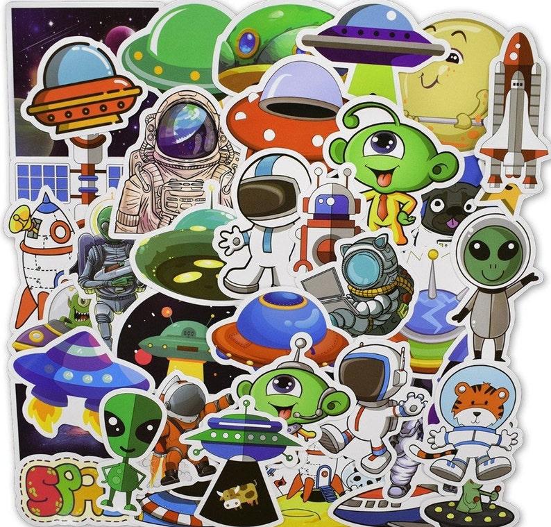 Alien Stickers Pack  50 Pcs Vinyl Decals  UFO PVC Sticker  Spaceship Luggage Stickers  Laptop Stickers  Skateboard Decals TS9011