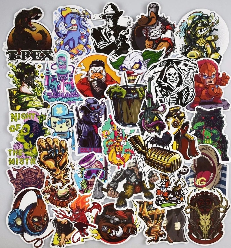 Scary Stickers Pack / 50 Pcs Vinyl Decals / Horror PVC Sticker / Ghost  Pirates Luggage Stickers / Skateboard Stickers TS9012