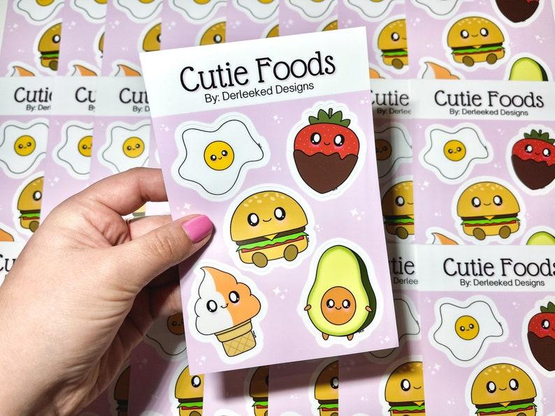 Kawaii Food Stickers Egg Chocolate Covered Strawberry Avocado Burger Cutie Foods Waterproof Sticker Sheet Creamsicle