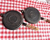 2 Wagner Ware Cast Iron 8 Waffle Irons Paddles Only