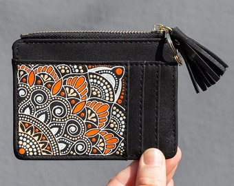 Watercolor Mandala Genuine Leather Small Framed Wallet Personalized