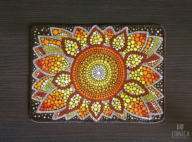 Sunflower Art Real Leather Passport Holder Wallet Case Cover for Men Women