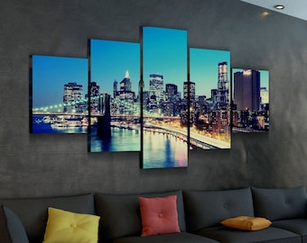 32a49297ea3b Famous Brooklyn Bridge Canvas Set - Poster - Home Decor - Artwork - Print -  Gallery Wrap - Framed - Custom Prints - Multi Panel Modern Art