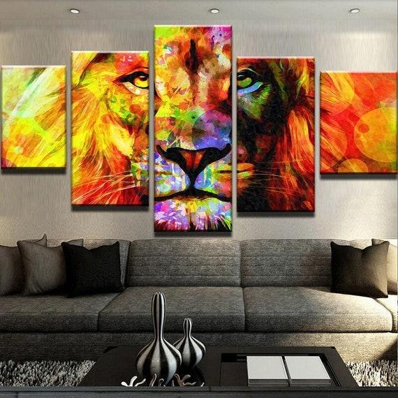 Colourful Splash Paint Large Art 5 Split Panel Canvas Picture Abstract Lion