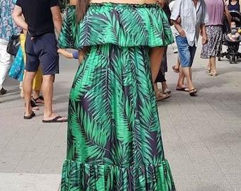 04a3df09d7 Women CUSTOM floral printed COLD SHOULDER chiffon Maxi Dress frilly Off  shoulder ruffle dress open shoulders chiffon summer Dress Maxi Dress