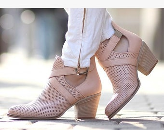 3413b341a8f Women open work perforated genuine leather high heel Casual Women s Spring close  Toe Shoes Chunky Heel platform sandals summer ankle boots