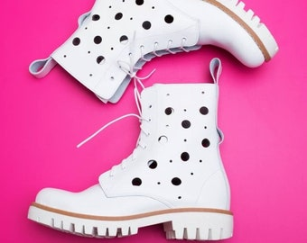 e481bf79477 Women Casual perforated genuine leather spring summer military work boots  flat Heel Openwork Low Bootscut out summer ankle boots
