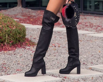 a49303f9016 Women over knee high block heel black genuine leather boots