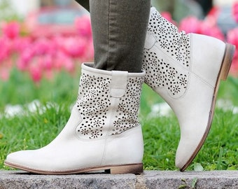 ad48a340dcd Women Casual Plain Pointed flat western ssummer ankle boots Head Coarse Heel  Openwork Low Boots genuine leather cut out summer ankle boots