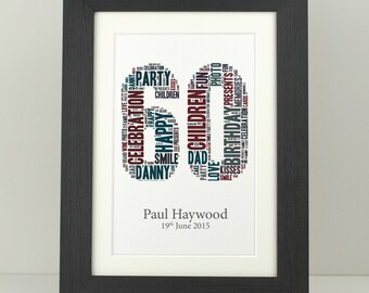 ANNIVERSARY Birthday Gift Her Him Word Art Print Personalised DISNEY Framed A4