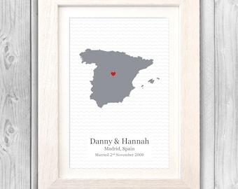 Anniversary gift personalised wedding coordinates first 1st anniversary VA021