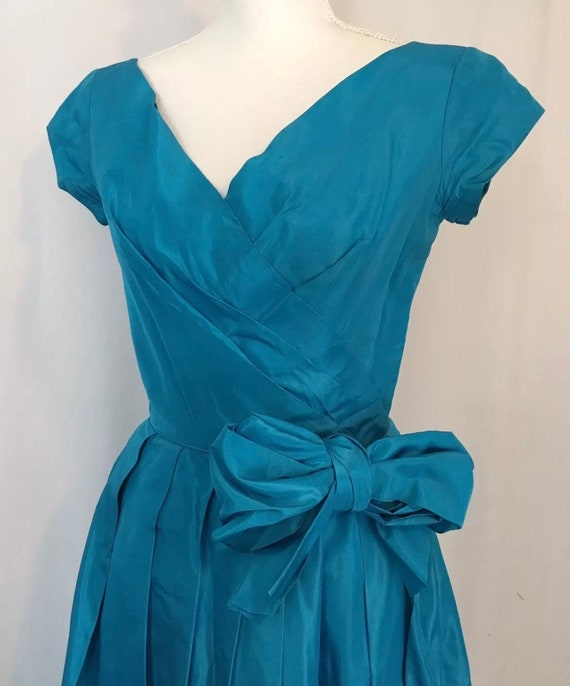 1950s Emma Domb Blue Taffeta Formal Ball Gown
