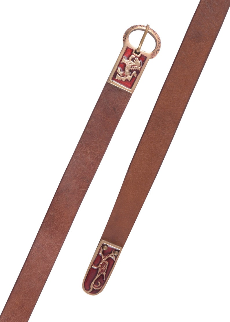 Long Medieval Leather Belt with Griffin and Lion Motif