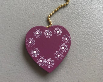 Mauve wooden heart ceiling fan pulllighting pull