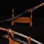 Hand Forged 1060 High Carbon Steel Blade Battle Ready Full Tang Samurai Dragon Engraving Japanese Katana Sword
