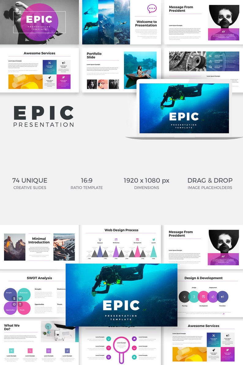 EPIC Keynote Presentation Template, Business plan, Financial, Portfolio,  Minimal, Fashion, Apple Keynote, Custom