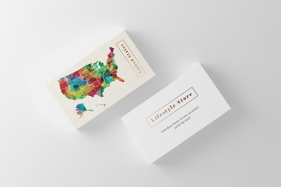 Watercolor Art US Map Business Card Template, Printable on wedding maps, social media maps, wallpaper maps, business map maker, full page maps, business cards old world, envelope maps, tract maps,