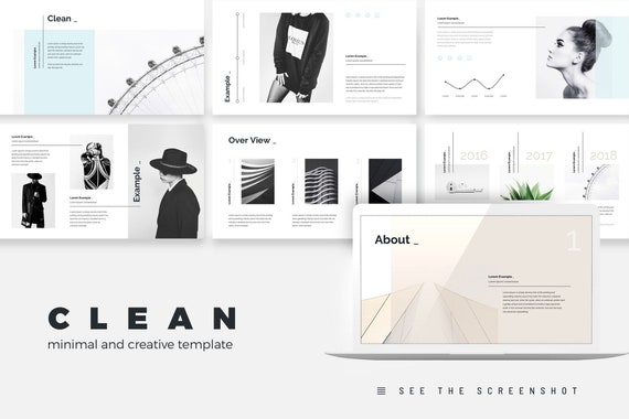 Clean Stylish Powerpoint Presentation Template Business Plan Etsy