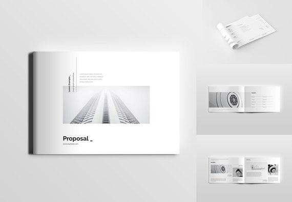 Landscape Minimal Clean Simple Proposal Template A4 Us Etsy
