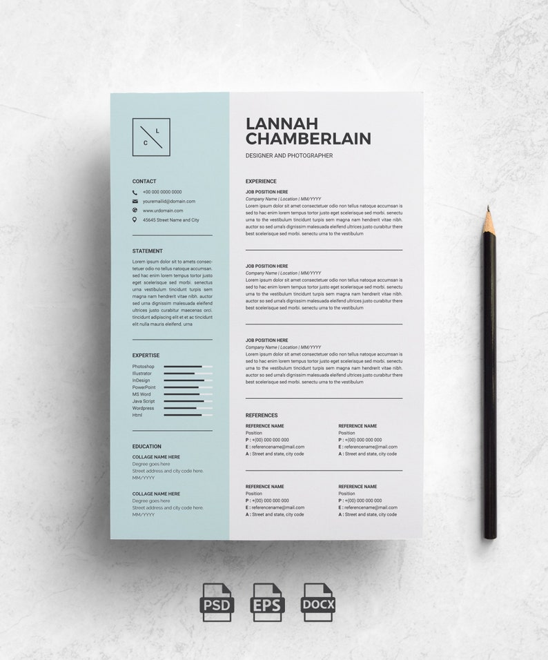Creative Resume Template For Word Free Cover Letter Social Icons Modern Cv Template Professional Resume Template Instant Download