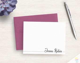 complete personalized stationery set flat cards custom gift set folded note cards notepad elegant stationary REGAL RENAE
