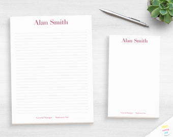 Mens Personalized Notepads Personalized Note Paper for Adults Note MNP03 Custom Professional Stationery for Men Custom Stationary Notepad