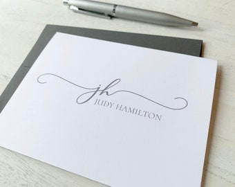 Personalized Monogram Stationery Cards - Custom Cards For Her - Customized Folded Note Cards - Modern Script Note Cards - Gift For Her #146
