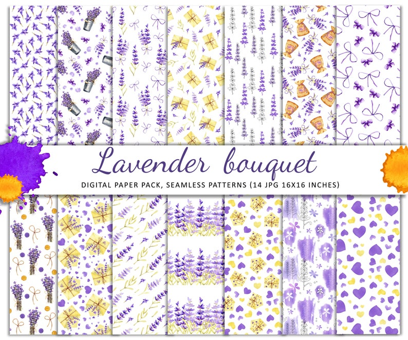 Digital paper watercolor clipart congratulations postcards background seamless patterns wall decor Lavender flowers and bouquets