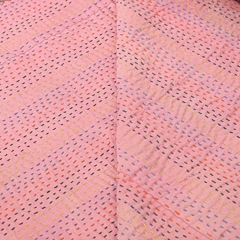 Hippie Pink Cotton Kantha Bedspread Throw Bohemian Tropicana Bedding Coverlets Queen Handmade Kantha Throw Blanket Reversible Indian Quilt