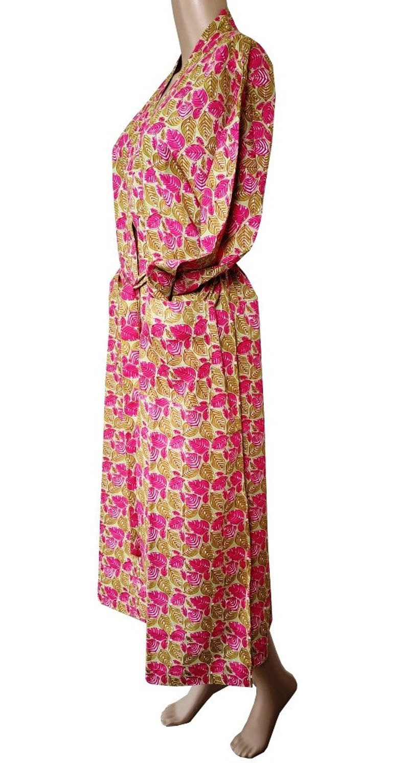 Pink  Cotton 100 /% Kimono Women Wear Body Crossover Bridesmaid Dressing Gown Hand Block Print Cotton Bathrobe Indian Robes Dressing Gown
