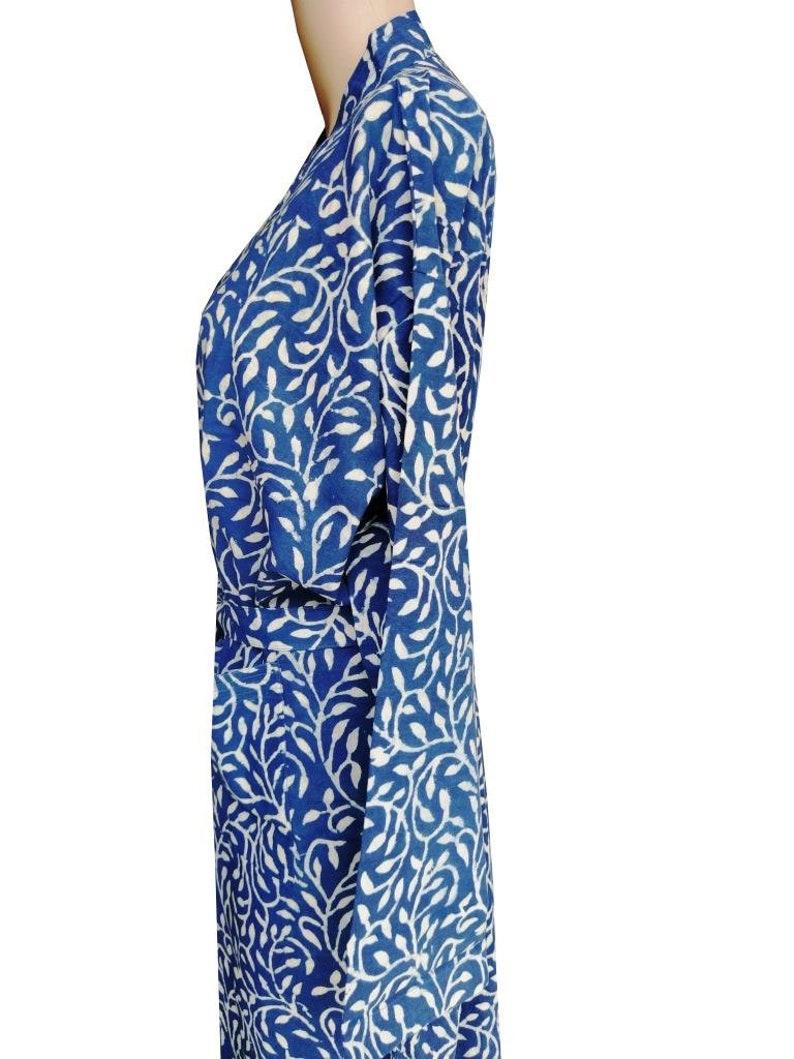 Hand Block Printed Kimono Robe Bathrobe Dressing Gown Hand Block Print Lightweight Cotton Robe Blue Robe Floral Print Summer Robe